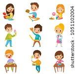 cute boy and girls having... | Shutterstock .eps vector #1051102004