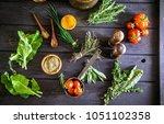 vegetables on wood. bio healthy ... | Shutterstock . vector #1051102358