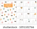 cute calendar 2019 with animals ... | Shutterstock .eps vector #1051102766