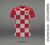football kit of croatia 2018 ... | Shutterstock .eps vector #1051103846