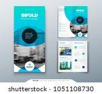 bi fold brochure design. blue... | Shutterstock .eps vector #1051108730