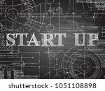 start up sign and gear wheels... | Shutterstock .eps vector #1051108898