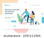 Relationship, online dating and social networking concept - teenagers chatting on the street. Landing concept, cartoon style illustration. | Shutterstock vector #1051111904