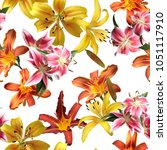 floral pattern lilies isolated... | Shutterstock . vector #1051117910