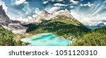panoramic view of lake sorapiss ... | Shutterstock . vector #1051120310