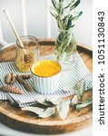 healthy vegan turmeric latte or ... | Shutterstock . vector #1051130843