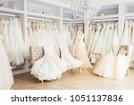beautiful wedding dresses on... | Shutterstock . vector #1051137836