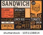 sandwich restaurant menu.... | Shutterstock .eps vector #1051138814