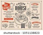 coffee restaurant menu. vector... | Shutterstock .eps vector #1051138823