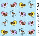 seamless pattern with cute... | Shutterstock .eps vector #1051151249