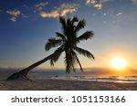 tulum beach sunset and palm... | Shutterstock . vector #1051153166