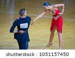 Small photo of Minsk-Belarus, March 11, 2018: Dance Couple of Vyacheslav Kleschenok and Viktoriya Kleschenok Performs Adult Latin-American Program on WDSF National Championship of the Republic of Belarus
