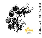 hand drawn sketch honey... | Shutterstock .eps vector #1051163033