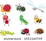 cute insect collection set | Shutterstock .eps vector #1051164749