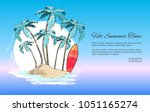 hot summer time web banner with ... | Shutterstock .eps vector #1051165274