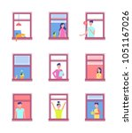 people in open windows isolated ... | Shutterstock .eps vector #1051167026