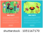 bbq party set of web pages ... | Shutterstock .eps vector #1051167170