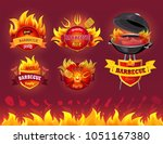 tasty hot barbecue  bbq grill... | Shutterstock .eps vector #1051167380