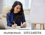 attractive young manager in...   Shutterstock . vector #1051168256