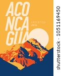 aconcagua in andes  argentina... | Shutterstock .eps vector #1051169450