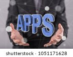 apps concept above the hands of ... | Shutterstock . vector #1051171628