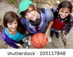 portrait of happy guy and girls ... | Shutterstock . vector #105117848