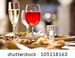 glasses set with drinks in... | Shutterstock . vector #105118163