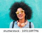 portrait of beautiful afro... | Shutterstock . vector #1051189796