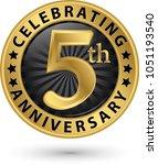 celebrating 5th anniversary... | Shutterstock .eps vector #1051193540