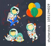children astronauts wearing... | Shutterstock .eps vector #1051194029