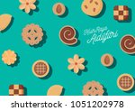 hari raya cookies   kuih raya... | Shutterstock .eps vector #1051202978