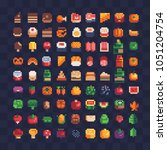 various food pixel art icons.... | Shutterstock .eps vector #1051204754