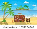banner beautiful beach by the... | Shutterstock .eps vector #1051204760