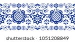 scandinavian folk art retro... | Shutterstock .eps vector #1051208849