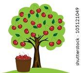 cherry tree on white background ... | Shutterstock .eps vector #105121049