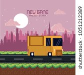 pixelated urban videogame... | Shutterstock .eps vector #1051212389