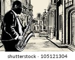 illustration of a saxophonist... | Shutterstock .eps vector #105121304
