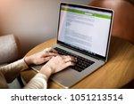 professional writer keyboarding ... | Shutterstock . vector #1051213514