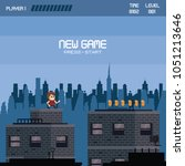 pixelated urban videogame... | Shutterstock .eps vector #1051213646