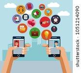 smartphones and social media   Shutterstock .eps vector #1051214090