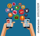 smartphones and social media   Shutterstock .eps vector #1051215239