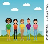 young women at park   Shutterstock .eps vector #1051217423