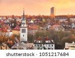 purple sunset over szczecin...   Shutterstock . vector #1051217684