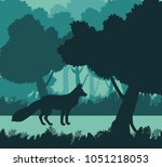 fox in the jungle | Shutterstock .eps vector #1051218053