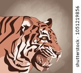 tiger drawing over brown... | Shutterstock .eps vector #1051219856
