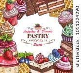 pastry shop sketch menu...   Shutterstock .eps vector #1051224290