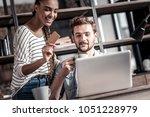 internet banking. positive nice ...   Shutterstock . vector #1051228979