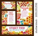 fastfood restaurant or street... | Shutterstock .eps vector #1051231550