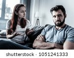 tel me why. disturbed serious... | Shutterstock . vector #1051241333