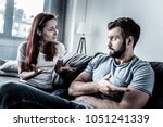 can you explain. young worried... | Shutterstock . vector #1051241339